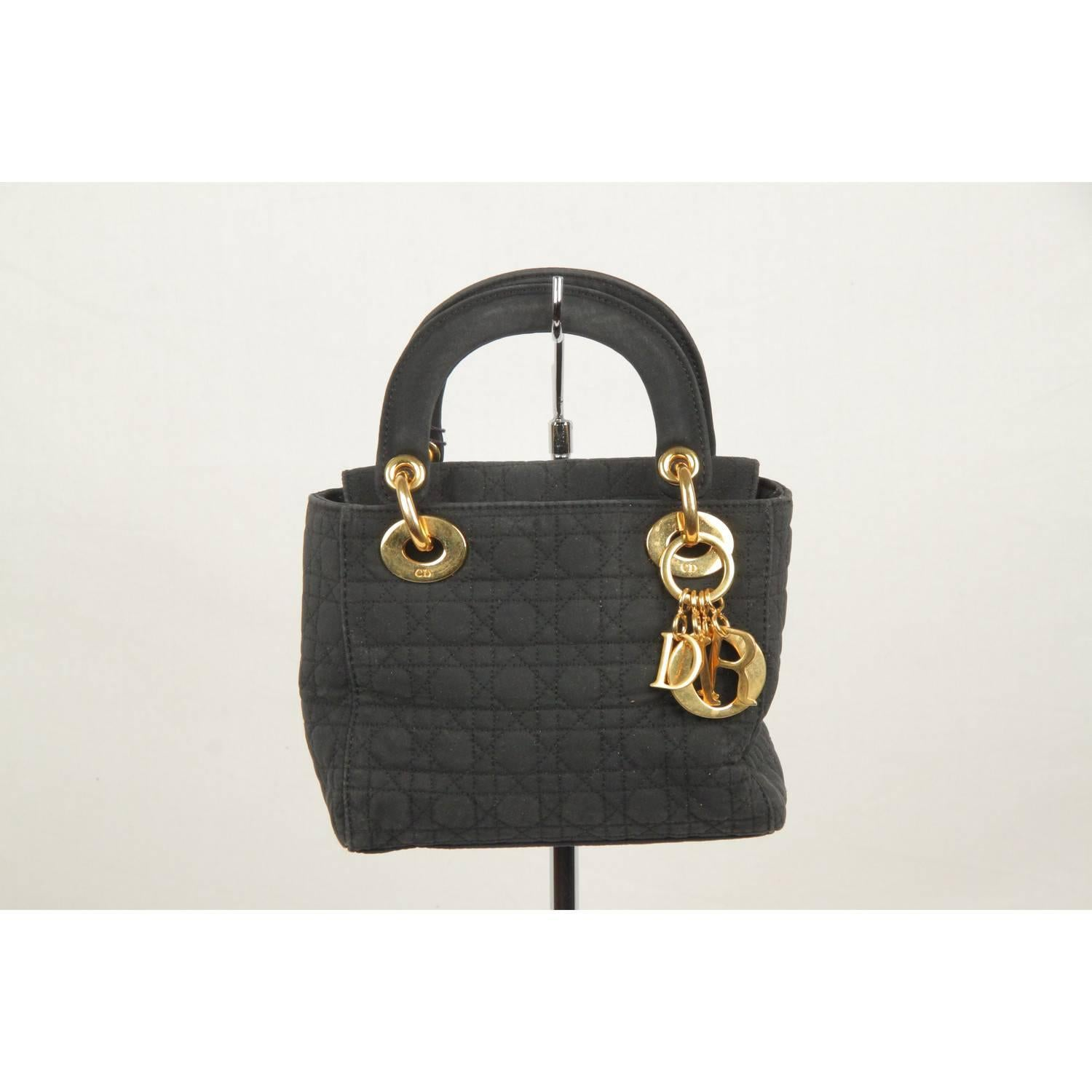 bd95ae48794 CHRISTIAN DIOR Black CANNAGE Quilted Canvas Mini LADY DIOR Bag For Sale at  1stdibs