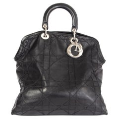 CHRISTIAN DIOR black Cannage quilted leather GRANVILLE Tote Bag