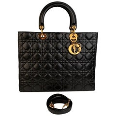 Christian Dior Black Cannage Quilted Leather Lady Dior Bag