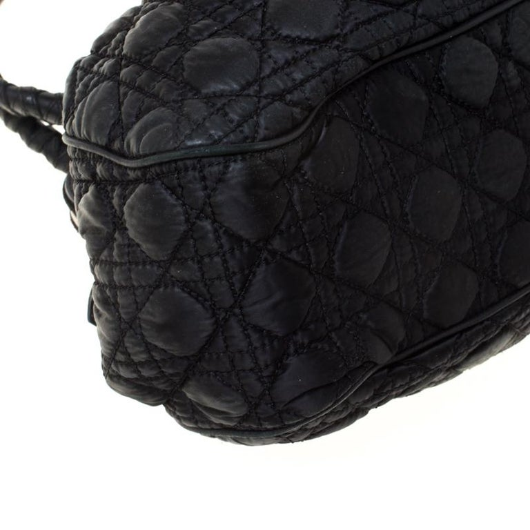 Christian Dior Black Charming Cannage Quilted Satin Doctor's Bag For Sale 7