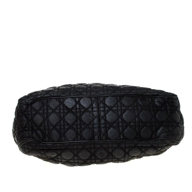 Christian Dior Black Charming Cannage Quilted Satin Doctor's Bag For Sale 8