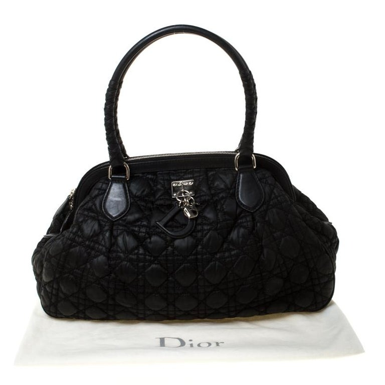 Christian Dior Black Charming Cannage Quilted Satin Doctor's Bag For Sale 9