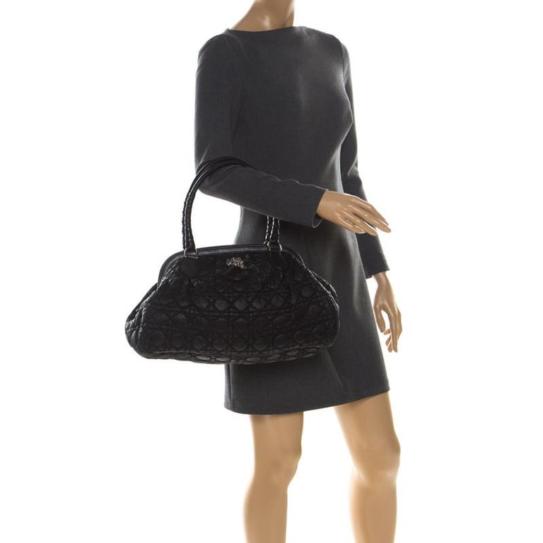 Christian Dior Black Charming Cannage Quilted Satin Doctor's Bag In Good Condition For Sale In Dubai, Al Qouz 2