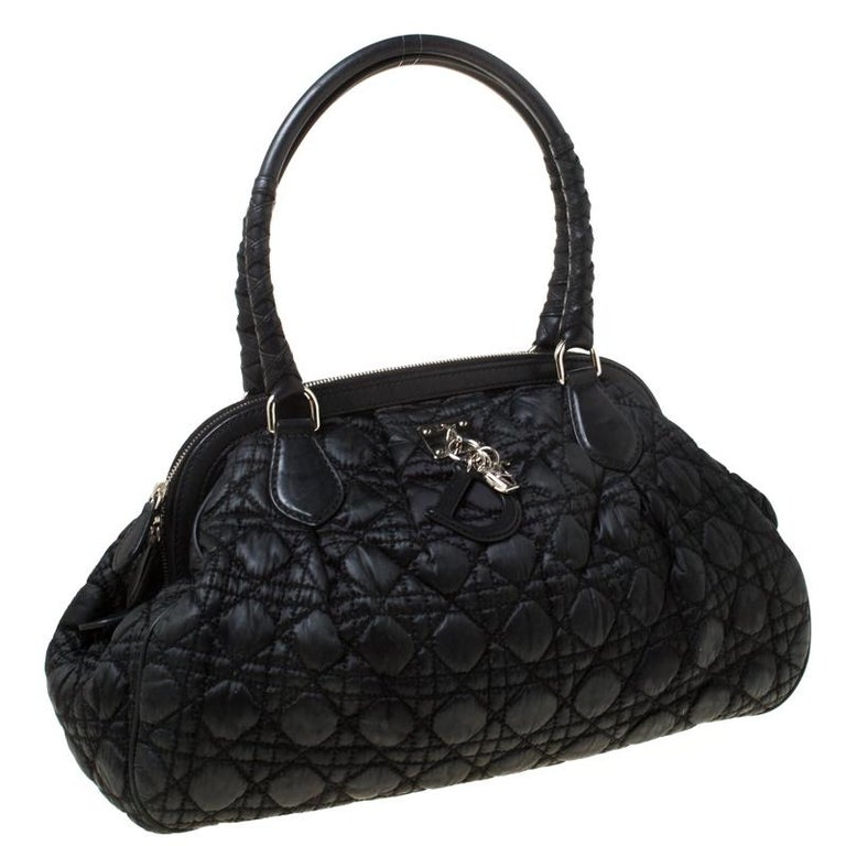 Women's Christian Dior Black Charming Cannage Quilted Satin Doctor's Bag For Sale