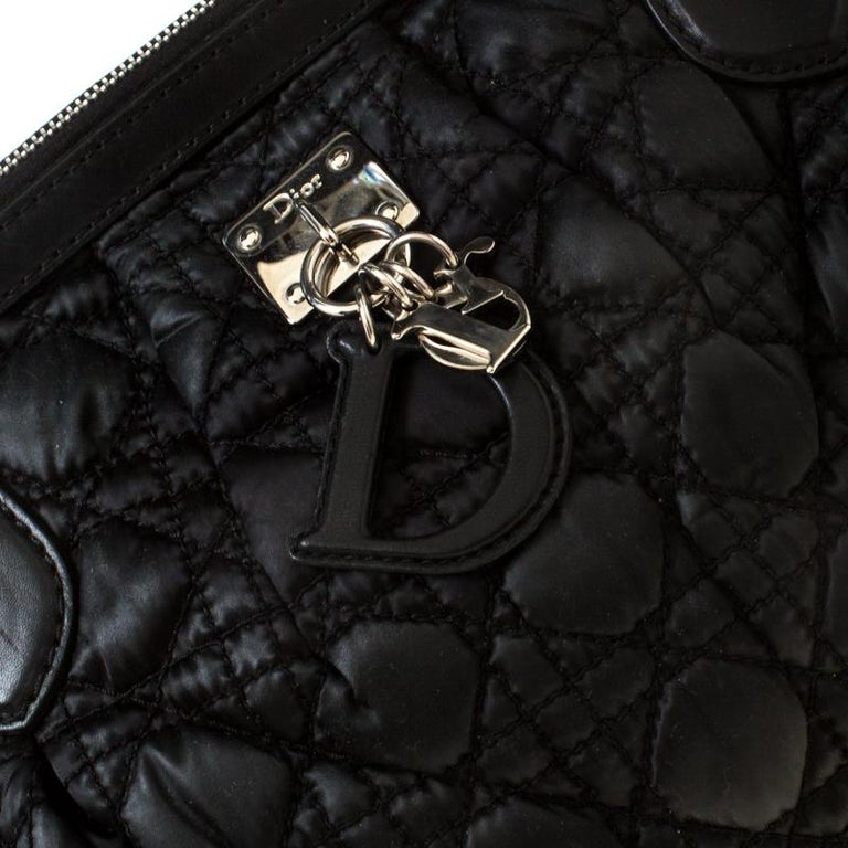 Christian Dior Black Charming Cannage Quilted Satin Doctor's Bag For Sale 5