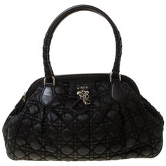 Christian Dior Black Charming Cannage Quilted Satin Doctor's Bag