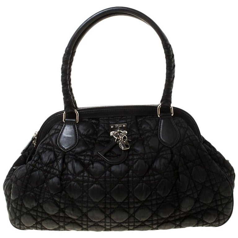 Christian Dior Black Charming Cannage Quilted Satin Doctor's Bag For Sale