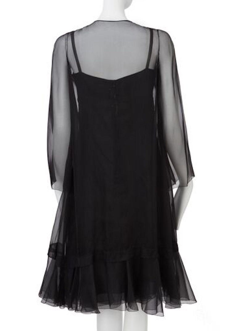 Christian Dior, Black Chiffon dress with jacket, Spring/Summer 1966 In Good Condition For Sale In London, GB