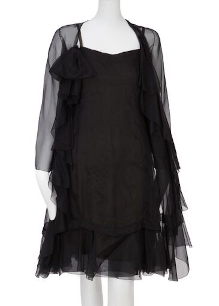 Women's Christian Dior, Black Chiffon dress with jacket, Spring/Summer 1966 For Sale