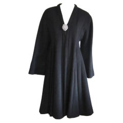 Christian Dior Black Coat Princess Cut Numbered Wool - Cashmere 38- Wide Sleeve