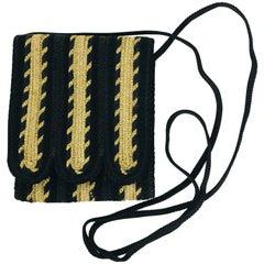 Christian Dior Black Cord & Suede Cross Body Mini Bag 1970s