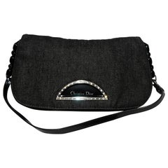Christian Dior Black Denim Malice Baguette