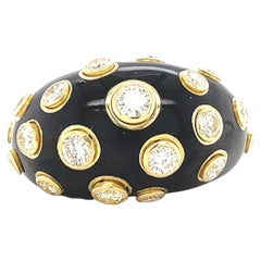 Christian Dior Black Enamel Diamond 18 Karat Gold Cocktail Ring