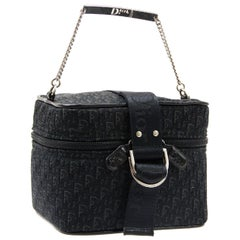 Christian Dior Black Fabric Patent Leather Top Handle Satchel Mini Vanity Bag