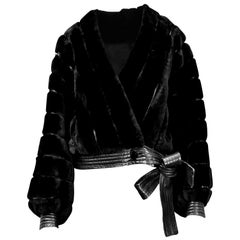 Christian Dior black faux fur and leather trimmed short jacket, circa 1967
