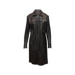 Christian Dior Black Galliano Era Waxed Coat