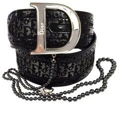 Christian Dior Black Gray Monogram Patent Bead Logo Silver 'CD' Logo Waist Belt