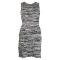 CHRISTIAN DIOR black & grey viscose Sleeveless Bodycon Dress 34