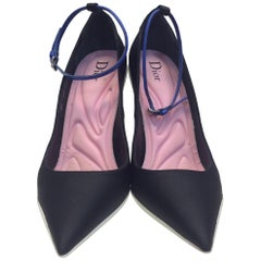 Christian Dior Black Heels with Blue Ankle Strap