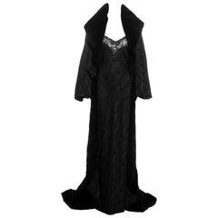 Christian Dior black jacquard evening fur coat and maxi dress, fw 1998