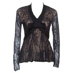 Christian Dior Black Lace Rib Trim Long Sleeve Top M