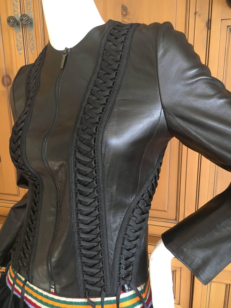 Women's Christian Dior Black Lambskin Leather Corset Laced Moto Jacket by John Galliano For Sale