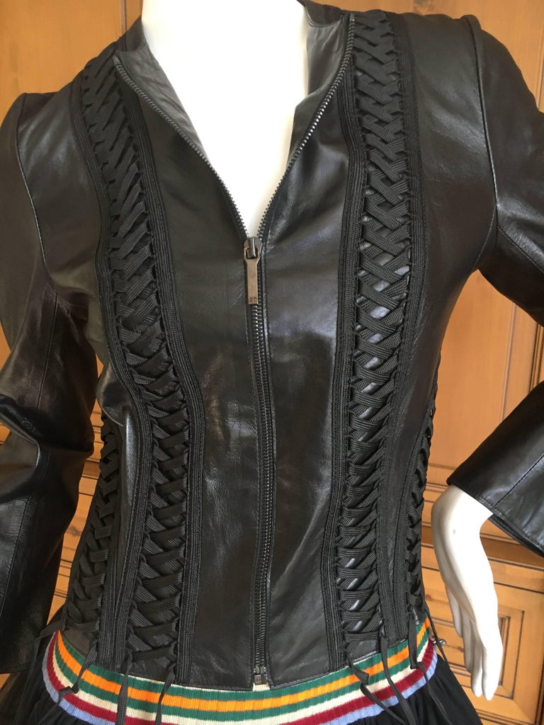 Christian Dior Black Lambskin Leather Corset Laced Moto Jacket by John Galliano For Sale 1
