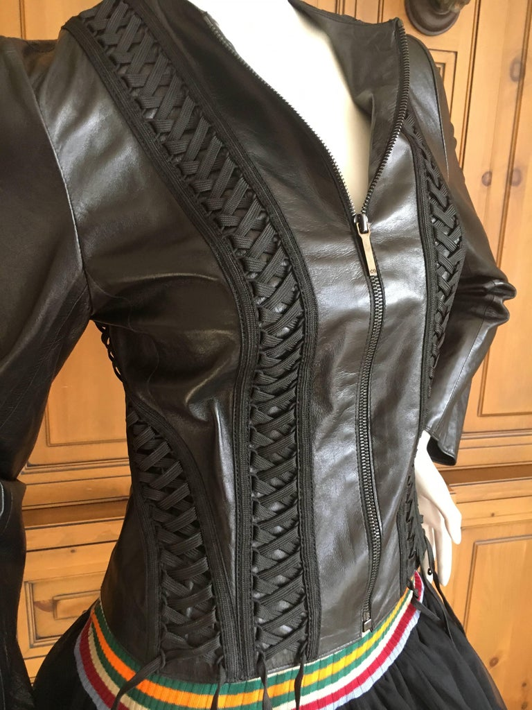 Christian Dior Black Lambskin Leather Corset Laced Moto Jacket by John Galliano For Sale 2