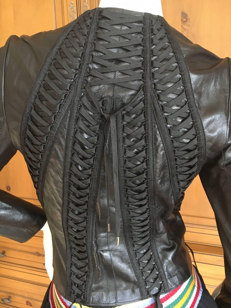 Christian Dior Black Lambskin Leather Corset Laced Moto Jacket by John Galliano For Sale 4