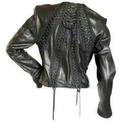 Christian Dior Black Lambskin Leather Corset Laced Moto Jacket by John Galliano