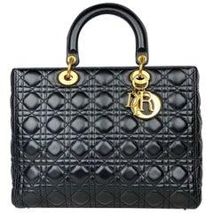 Christian Dior Black Large Lady Dior Handbag