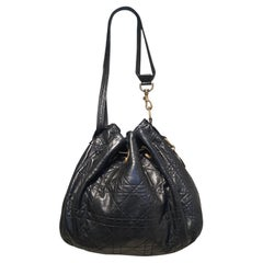 Christian Dior Black Leather Cannage Drawstring Shoulder Bag