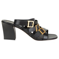 CHRISTIAN DIOR black leather DOUBLE D HEELED Sandals Shoes 40