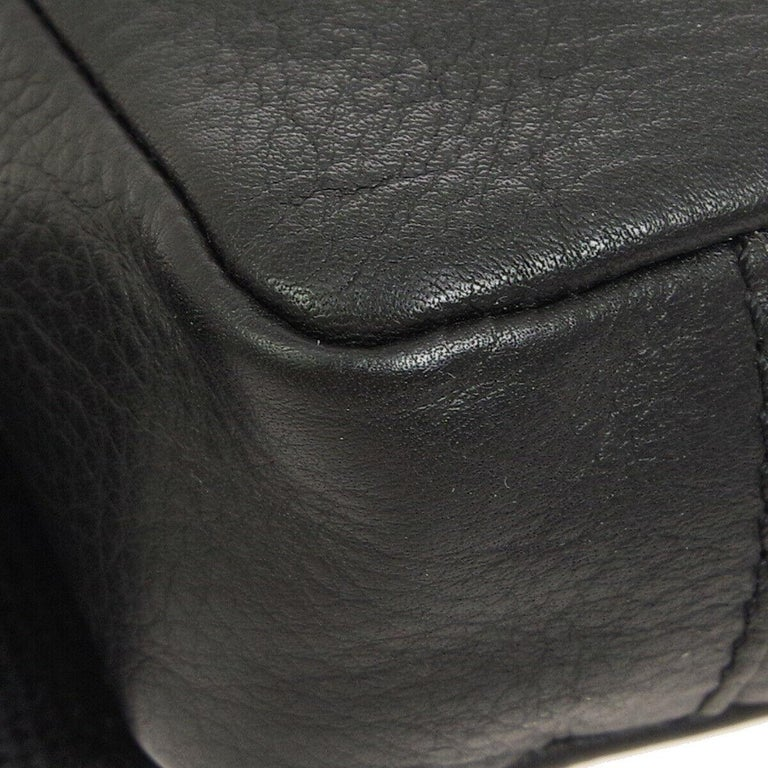 Women's Christian Dior Black Leather Double Pouch Utility Bum Fanny Pack Waist Belt Bag For Sale