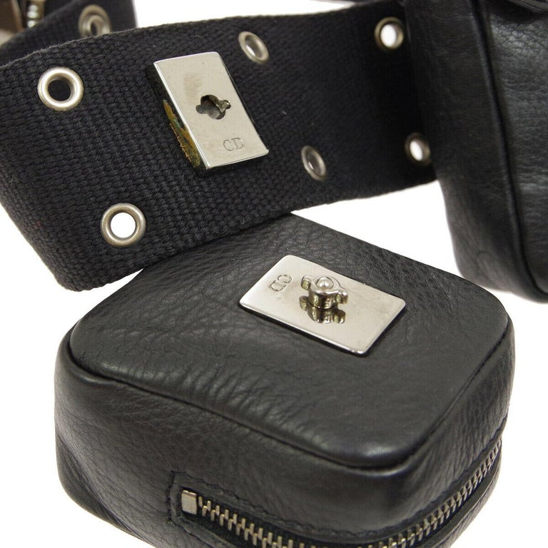 Christian Dior Black Leather Double Pouch Utility Bum Fanny Pack Waist Belt Bag For Sale 1