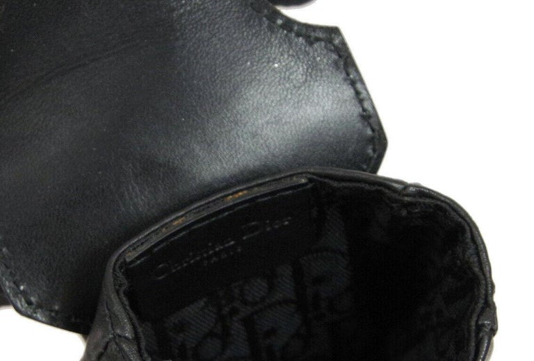 Christian Dior Black Leather Double Pouch Utility Bum Fanny Pack Waist Belt Bag For Sale 2