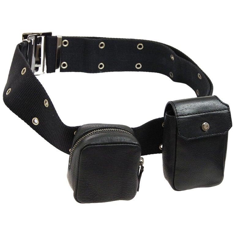 Christian Dior Black Leather Double Pouch Utility Bum Fanny Pack Waist Belt Bag For Sale