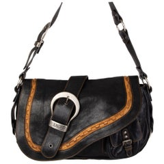 CHRISTIAN DIOR black leather GAUCHO SADDLE Shoulder Bag