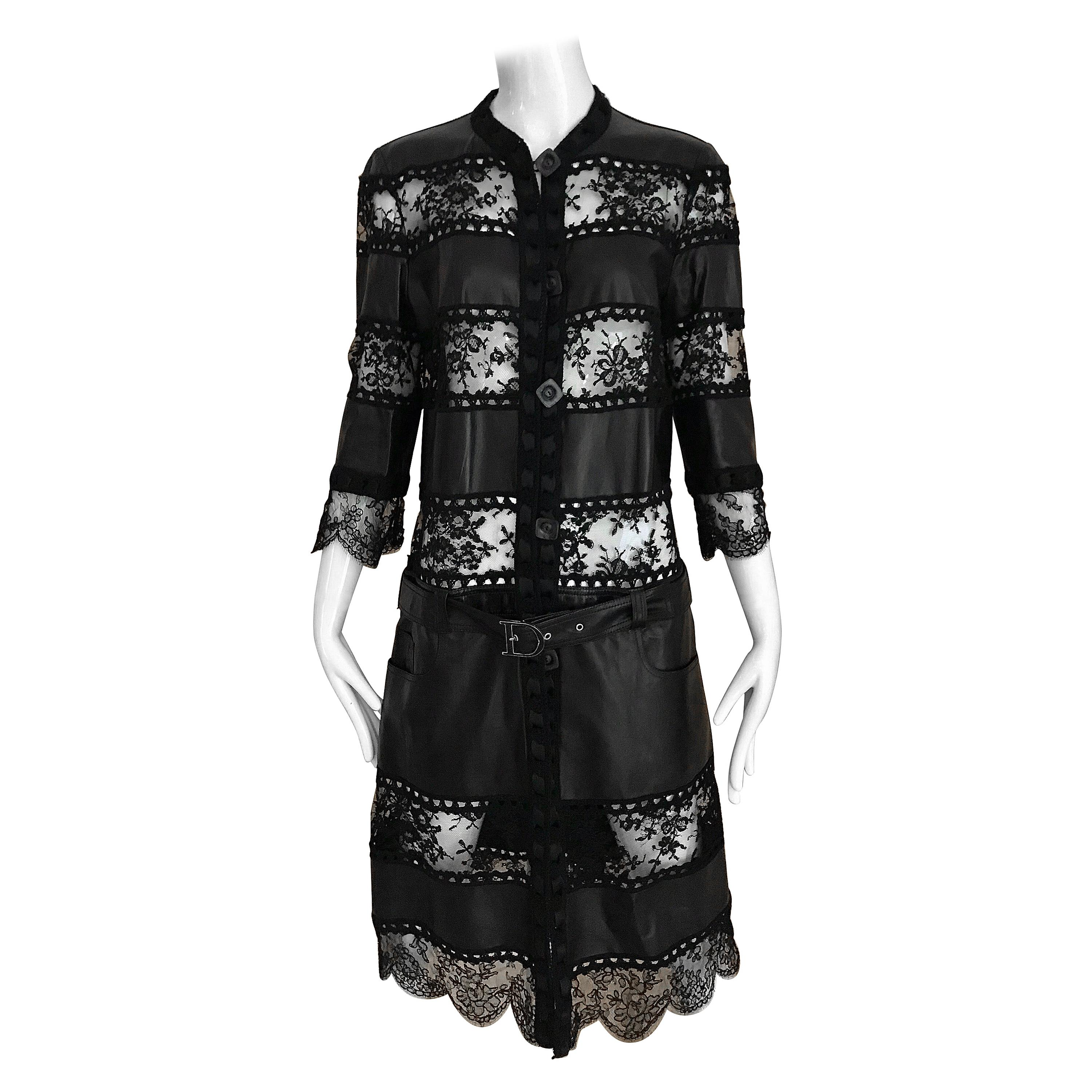 Christian Dior Black Leather Lace Dress By John Galliano