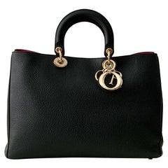 Christian Dior Black Leather Large Diorissimo Tote Bag