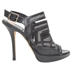 Christian Dior Black Leather & Mesh Platform Sandals
