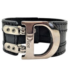 Christian Dior Black Leather, Palladium Plated, Flight Buckle Cuff Bracelet