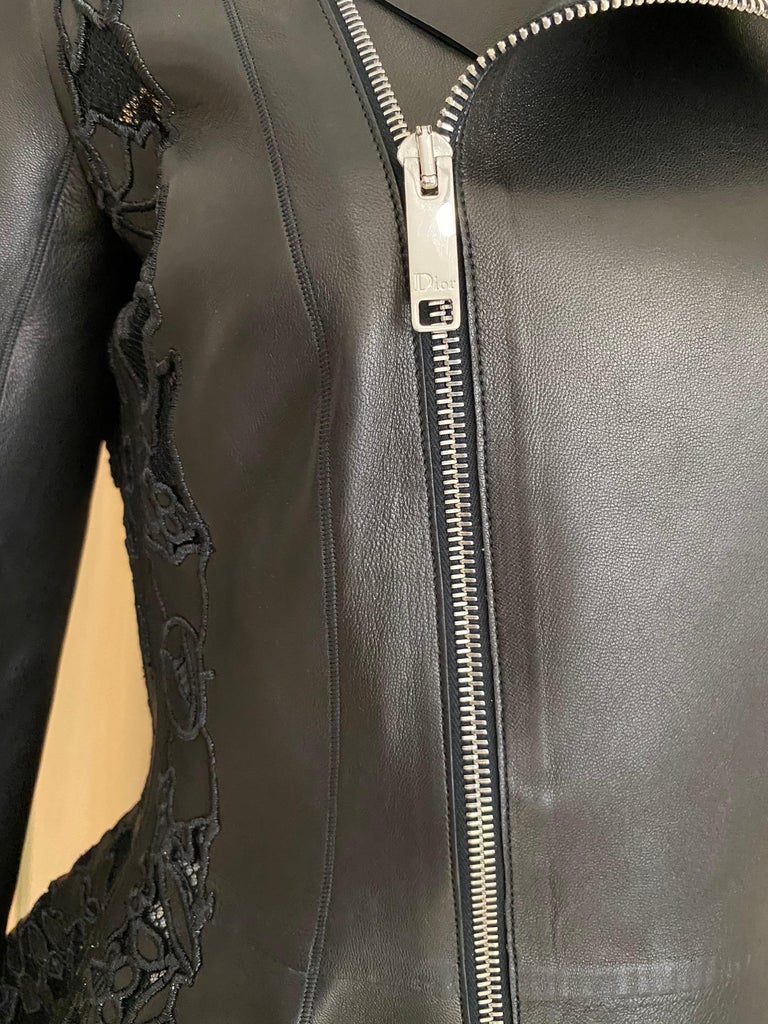 Christian Dior Black Leather Peplum Jacket with Lace  For Sale 6