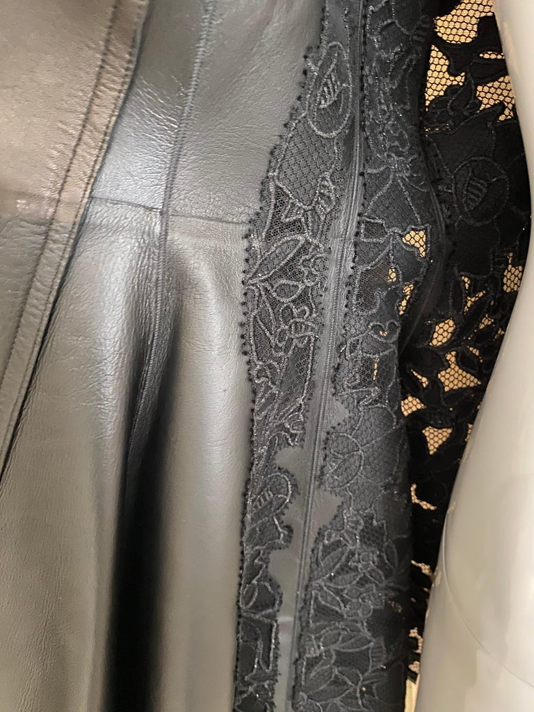Christian Dior Black Leather Peplum Jacket with Lace  For Sale 7