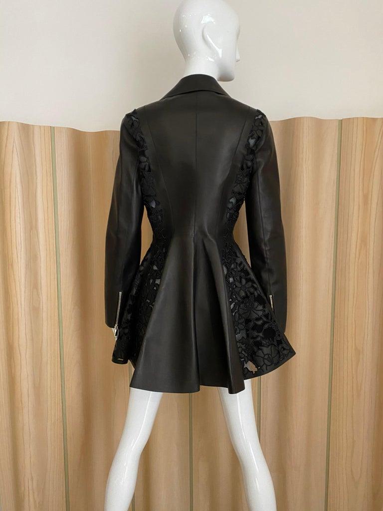 Beautiful Christian Dior by John Galliano Black leather peplum jacket with lace. zipper. Size 4-6 US/ F38 /42Italian