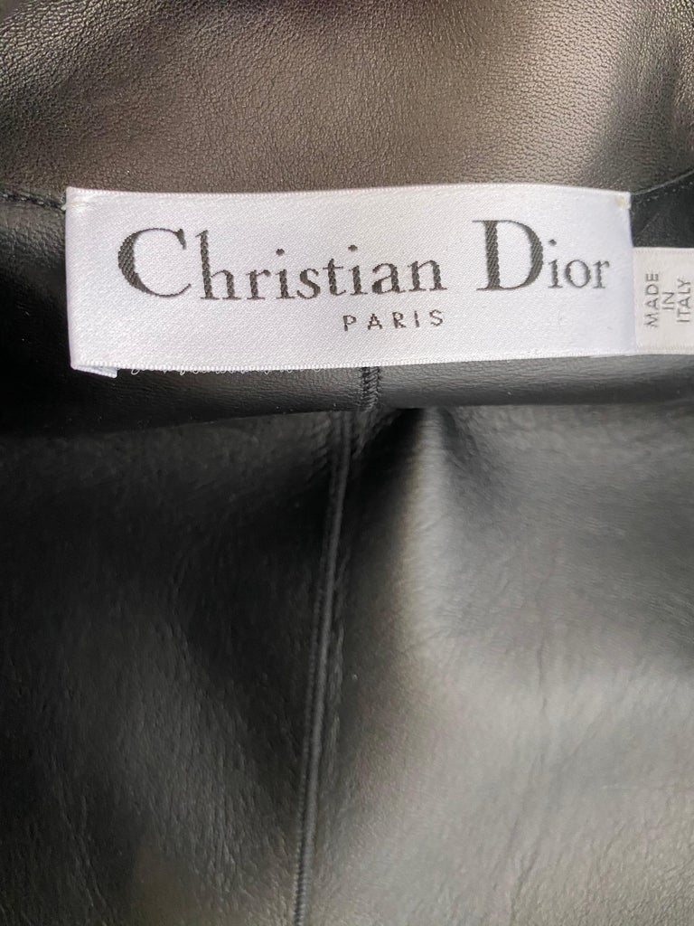 Christian Dior Black Leather Peplum Jacket with Lace  In Excellent Condition For Sale In Beverly Hills, CA