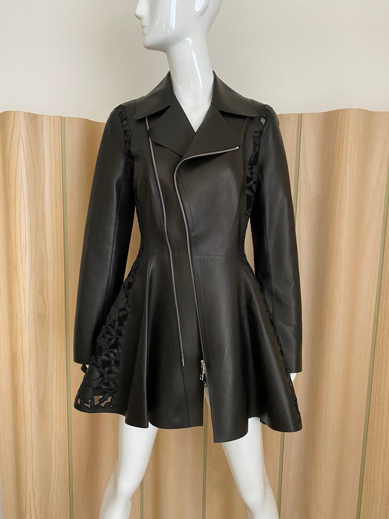Christian Dior Black Leather Peplum Jacket with Lace  For Sale 1