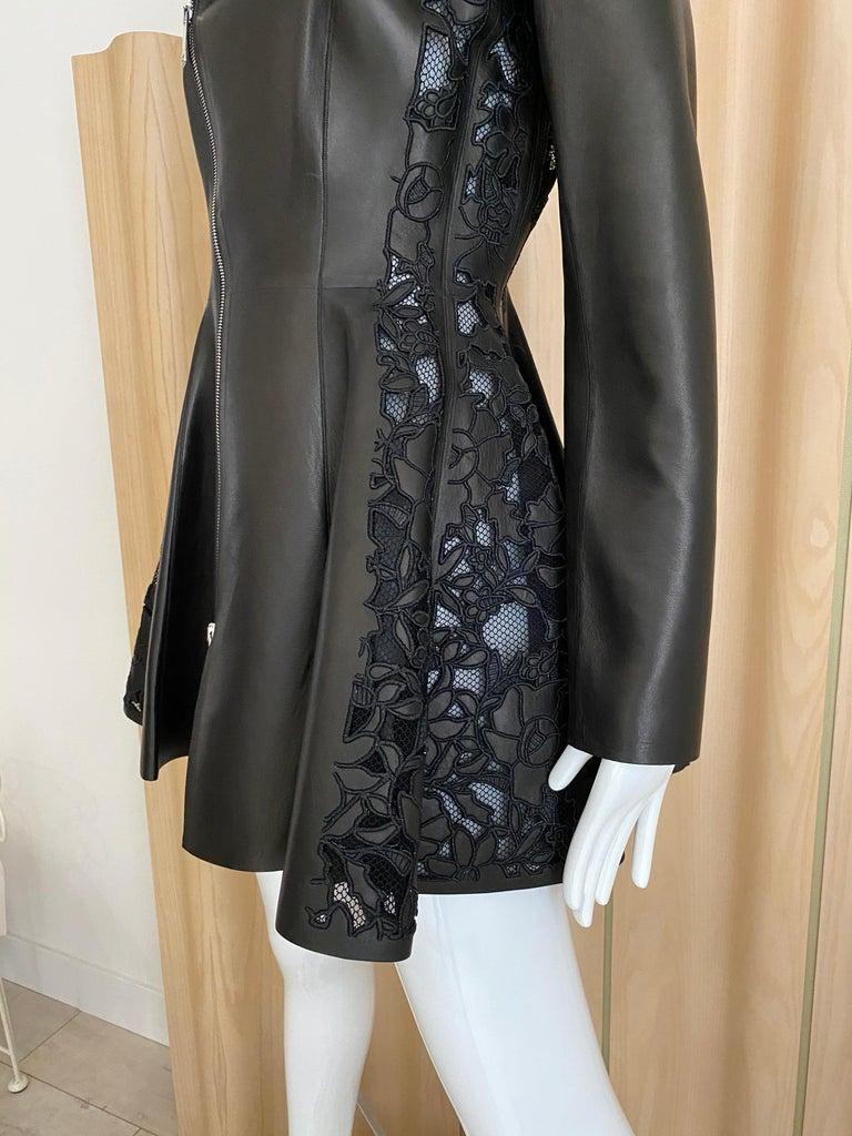 Christian Dior Black Leather Peplum Jacket with Lace  For Sale 4
