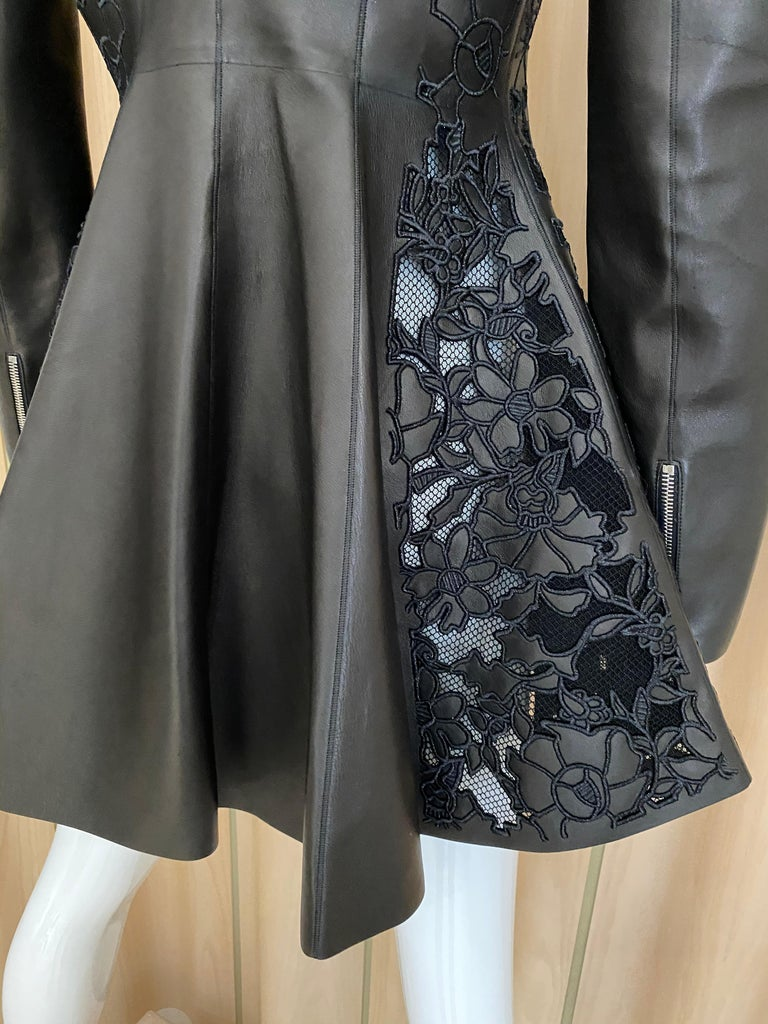 Christian Dior Black Leather Peplum Jacket with Lace  For Sale 5