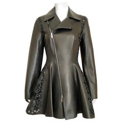 Christian Dior Black Leather Peplum Jacket with Lace